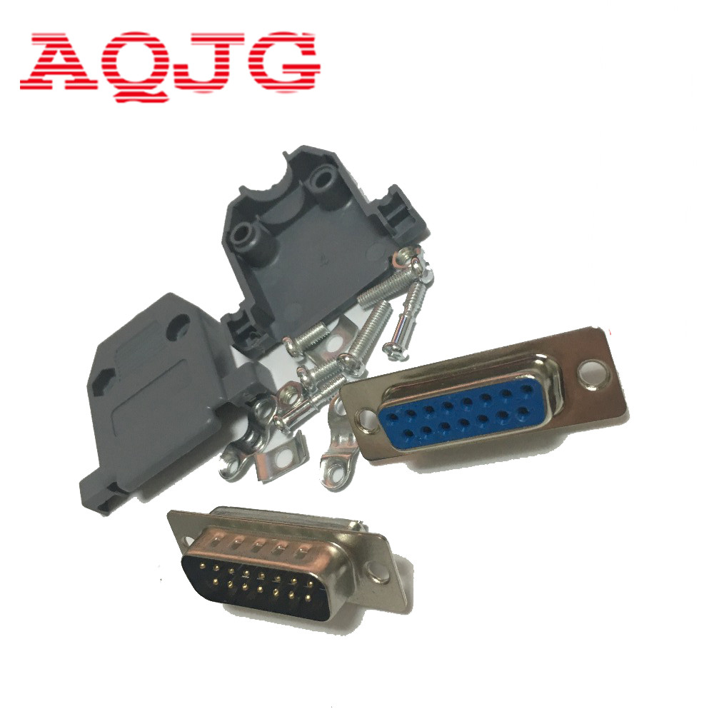 10pcs Parallel Serial Port DB15 15 Pin 15 Way D Sub Female Solder Connector + Plastic Assemble Shell Cover VGA Adapter AQJG 10 pcs d sub 15 pin male solder type plug adapter vga connector serial ports db15m