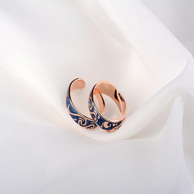 Qevila Hot Fashion Rings Plated S925 Silver Van Gogh Starry Sky Open Lover Ring 3