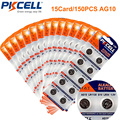 150 x pkcell 1.5 v gp lr54 189 ag10 l1131 sr1130 g10 v10ga 389a batería alcalina botón de la célula de la moneda (15 tarjeta)