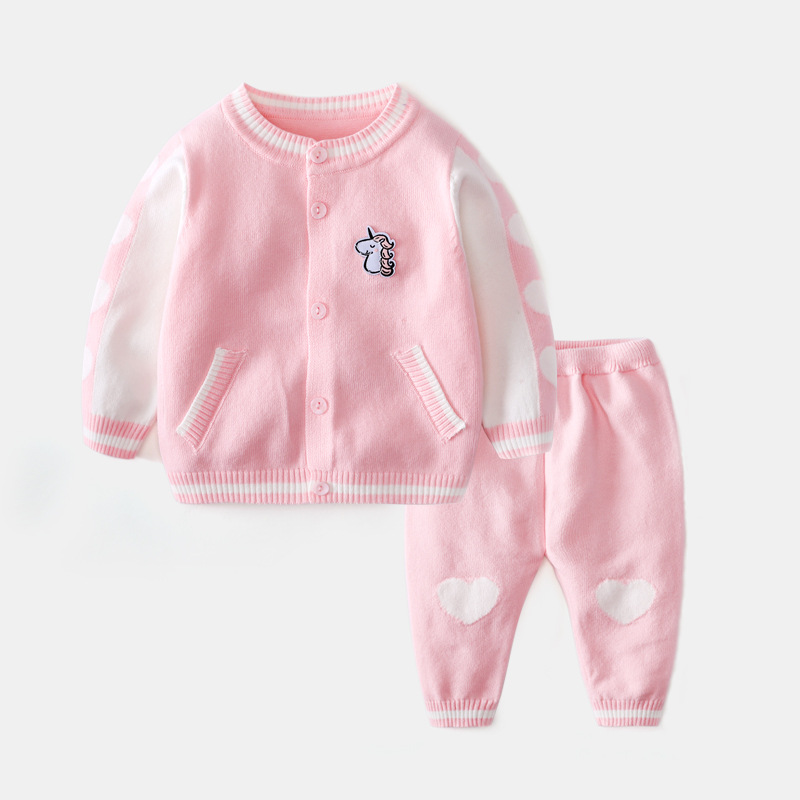 Baby Girl Clothes 2019 Spring Knitting Cardigan Sweater Pants 2pcs Boy Sets Kids Infant Toddler Outfits Unisex Newborn Clothing