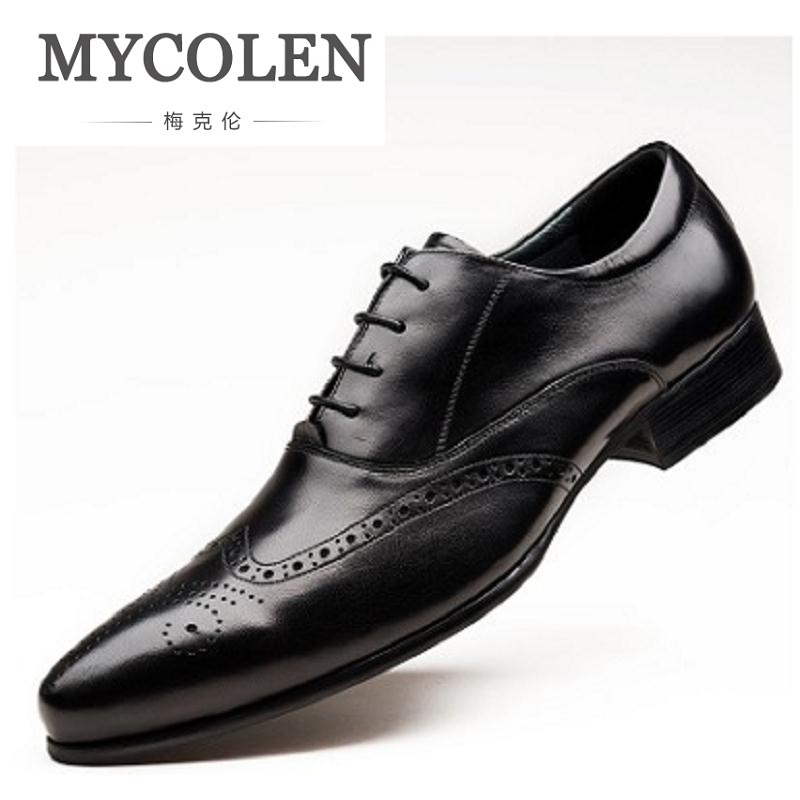 MYCOLEN NEW Fashion Men Genuine Leather Shoes High Quality Wedding Evening Party Shoes Pointed Toe Business Dress Men Shoes mycolen new fashion men shoes genuine leather men dress shoes high quality comfortable men s business gentleman shoes man