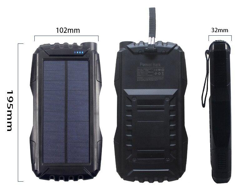 Batterie externe portative extérieure de 25000 mAh batterie externe polyvalente imperméable à l'eau