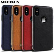 SIBEIXUN роскошный, кожаный, в деловом стиле, сшитый чехол бизнес ветер кожа ультра-тонкий мягкий чехол для iPhone X 7 8 6 plus