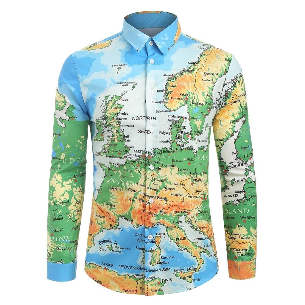 2019 Men Fashion Casual Long Sleeved Print Fashion  Casual World Map 3D Print Long Sleeve Turn-down Collar Shirt Top M-3XL Рубашка
