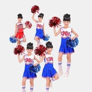 Image 2 - בנות Red & Blue מעודדת לעודד תחפושת תלבושת אחיד עם Poms פום שמלת בגדי גרבי סט מתאים 3 15Yrs