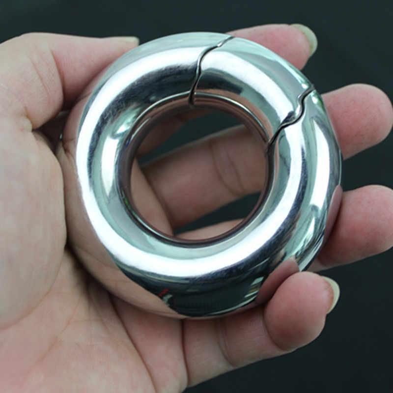 Pria Skrotum Liontin Cincin Stainless Steel Bola Kesucian Cincin Bobot Testis Menahan Diri Cincin Kunci Mainan Seks untuk Pria B2-2-213