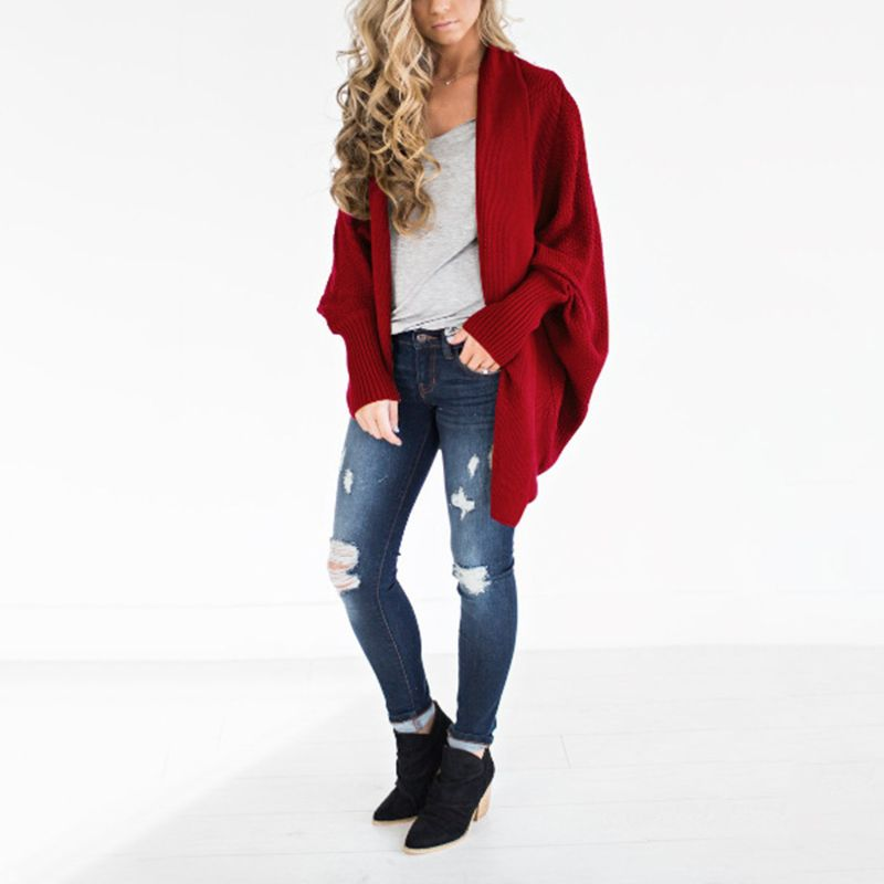 d95bfaae06 Women Oversized Open Front Sweaters Long Batwing Sleeve Chunky Cable Knitted  Poncho Cardigans Solid Color Asymmetric Irregular H
