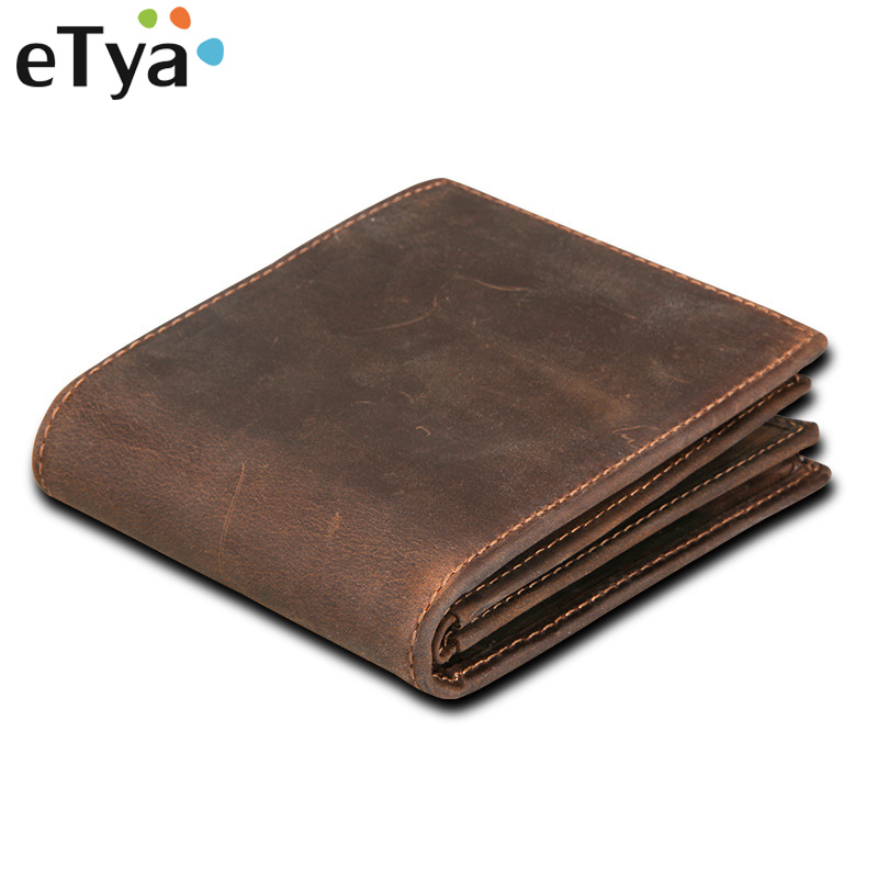 eTya Genuine Leather Men Wallets High Quality Cowhide Male Short Wallet Coin Purse Business Credit Card Holder for Men's Purse mens wallets black cowhide real genuine leather wallet bifold clutch coin short purse pouch id card dollar holder for gift