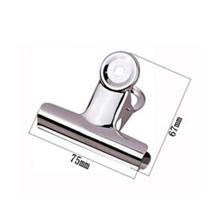 Free Shipping (18pcs/lot) 75mm Round Top Grip Clips Bulldog Clip Office Supply Metal Bill Clip Stainless Steel Paper Clip
