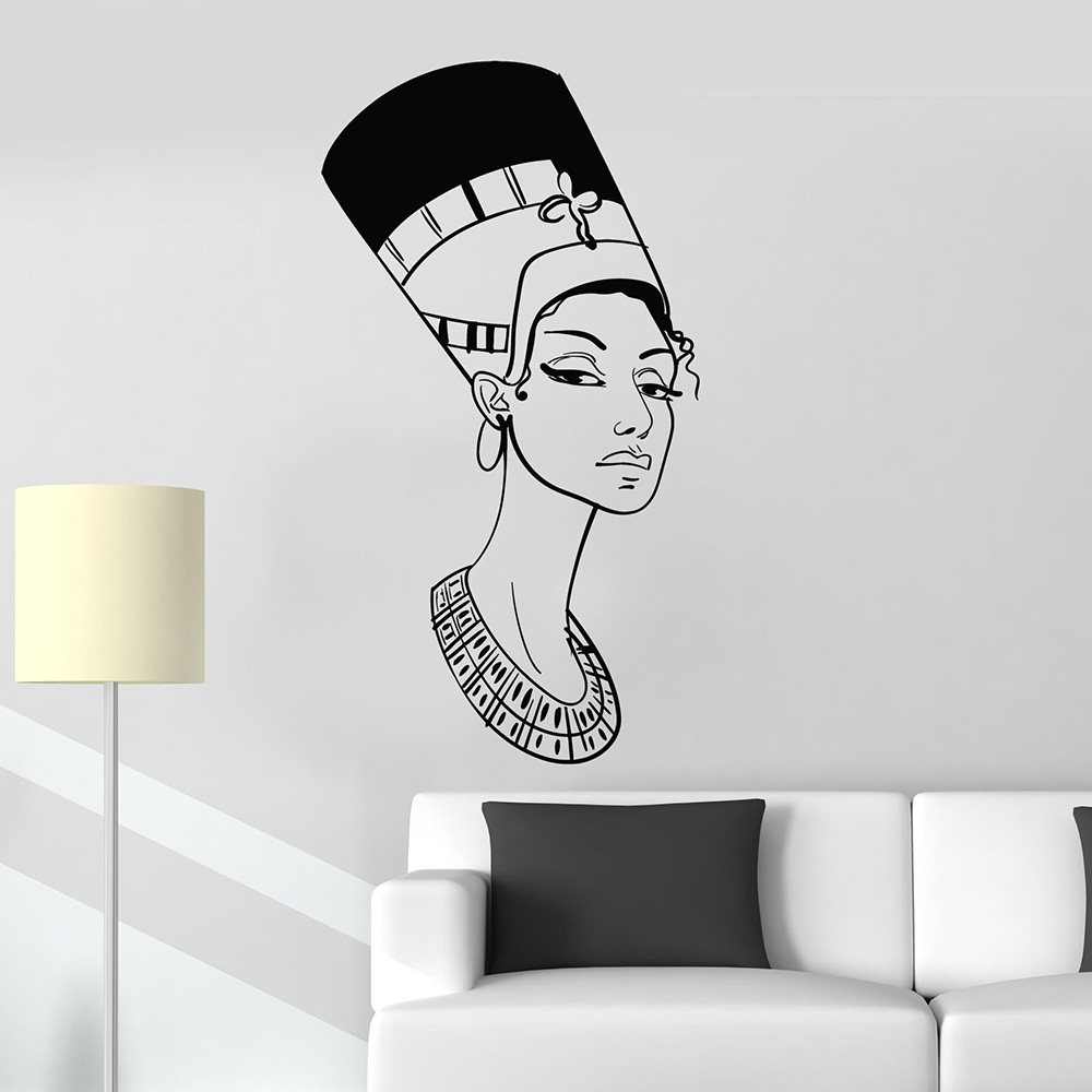 Portrait beautiful nefertiti egyptian queen egypt vinyl wall decal home decor living room art for Beautiful wall stickers for living room