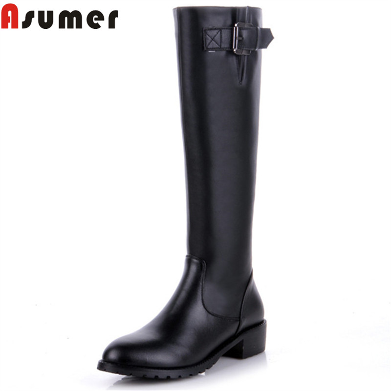 ASUMER fashion hot sale new knee high boots women round toe zip pu+cow leather boots med heels ladies autumn winter boots asumer 2018 fashion autumn winter boots zip round toe suede leather knee high boots women thick high heels boots ladies shoes