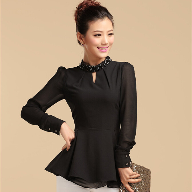 2014 New Fashion Korean Style Chiffon Women Blouse Long Sleeve Slim Shirts Ruffles Blouses Free Shipping V1031