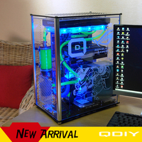 QDIY PC A006S ATX Transparent Computer Case PC Case Water Cooling Game Player Acrylic Computer Case