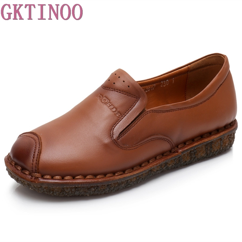 GKTINOO Genuine Leather Flat Handmade Soft Outsole Comfortable Casual Shoes Women Flats Single Shoes Solid Women Loafers women flats new fashion women genuine leather flat shoes woman bow casual shoes comfortable soft outsole loafers women shoes