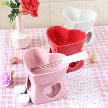 ice cream fondue tool Chocolate podjarka furnace ceramic heart bowl color