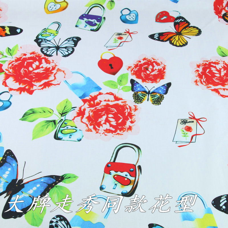 Butterfly Printed Cotton Poplin Dress Fabric DIY Breathable Shirt Cotton Fabric