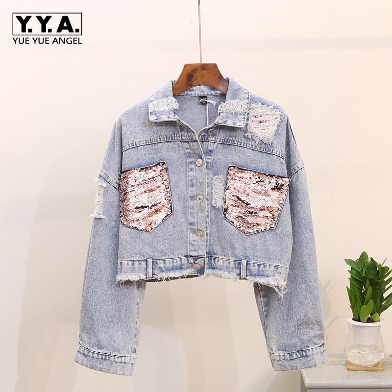 Paillettes Denim veste pour les femmes 2019 nouveau printemps automne femmes veste manteau court pour les femmes col rabattu vestes Jaqueta Jeans