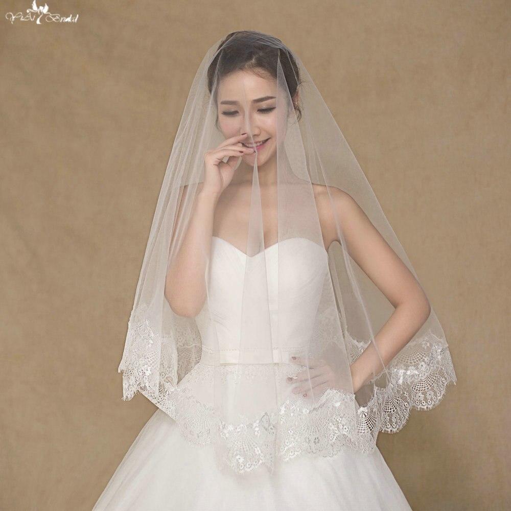 Wedding Hairstyles No Veil: LZP062 Regular Applique Veil One Layer Wedding Veil Short