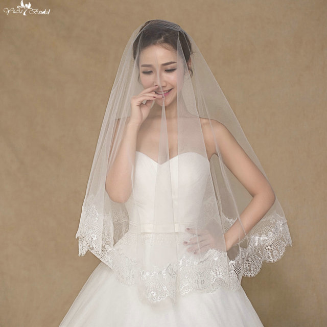 LZP062 Regular Applique Veil One Layer Wedding Veil Short