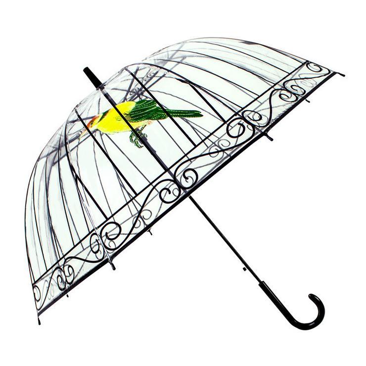 Transparante paraplu Creatieve vogelkooi parasol Lange steel paraplu 8 Ribben Zonnige en regenachtige paraplu Vrouwen Meisjes Outdoor Tools