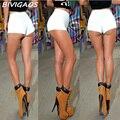 2016 Verano Nueva Moda Estilo AA Mujeres Sexy Flaco Delgado Pantalones Cortos de Cintura alta Pantalones Cortos de Mezclilla Pantalones Vaqueros Cremallera Lateral Corto de Las Mujeres ropa
