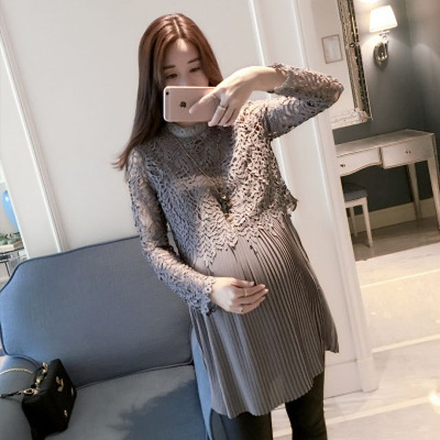 4600c64486a34 Spring And Autumn New Korean Version Lace Pleated Pregnant Women Breastfeeding  Dress Fashion Maternity Freaky Skirt