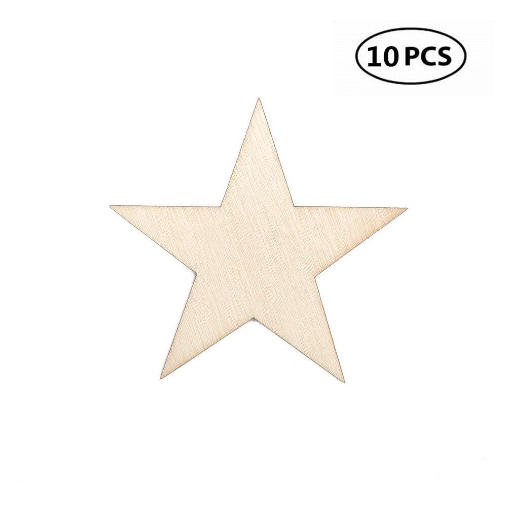 10pcs Wooden STAR Embellishment DIY XMAS Craft Cardmaking Scrapbooking 80mm
