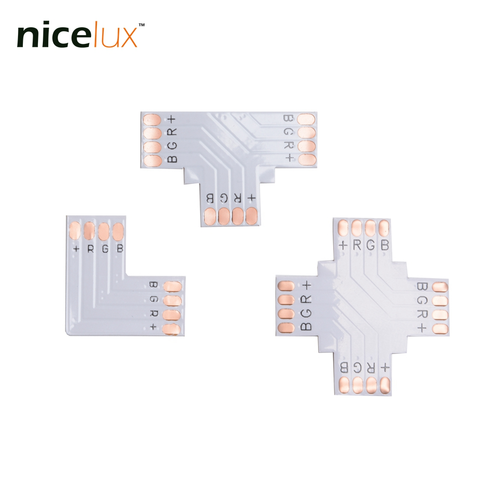 hight resolution of 50pcs lot rgb led strip corner connector 4 pin 10mm l t x shape pcb board splitter connector for smd 5050 4pin led tape light
