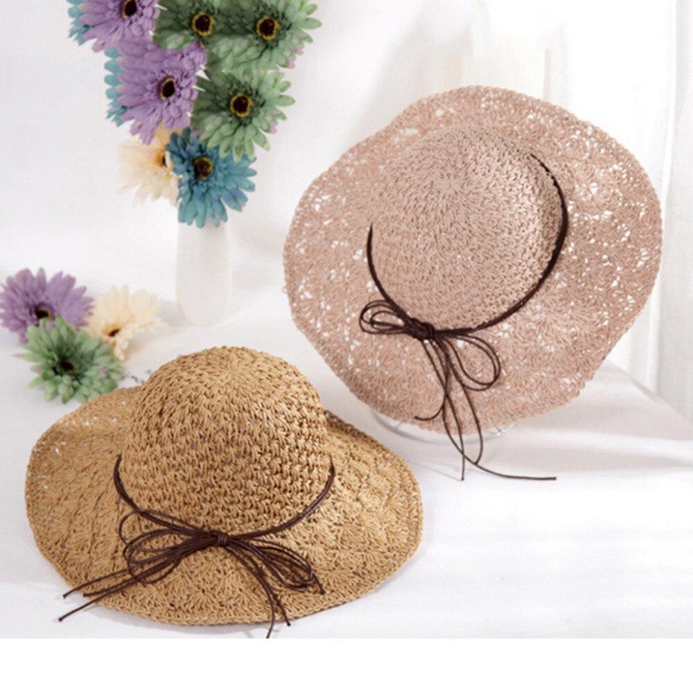 2019 summer sexy women\`s bow grass beach hat striped hood foldable rolled pretty beach hat seaside sports beach hat girl 40J5 (9)