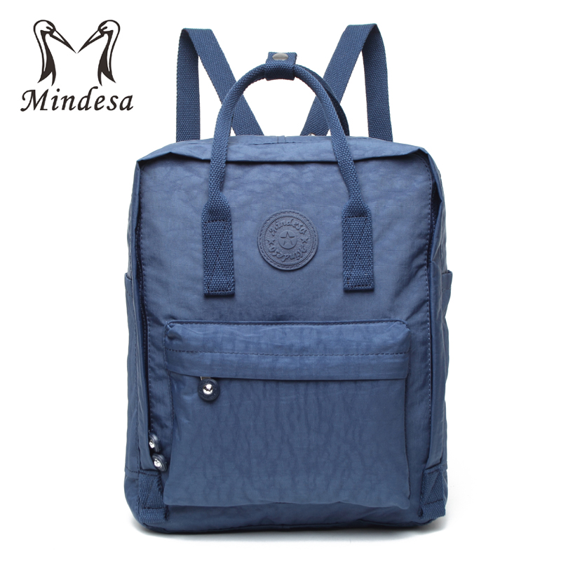 315ef7d2da3 MINDESA Women Backpacks For Teenage Girls Bolsos Mochila Mujer 2017 Black  Bagpack Female Solid School Bag Casual Nylon Sac A Dos