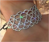 Full Rhinestone Chokers 2016 Crystal Necklace Women Luxury Choker Lace Up Statement Necklace Jewelry Ladies Collares