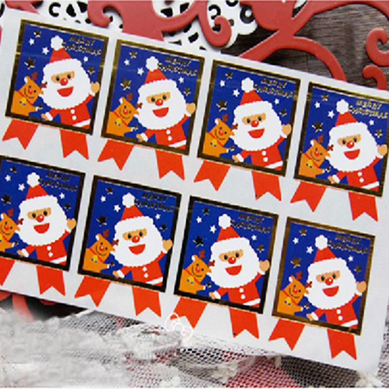 ⊹10 page lot (60 pcs) Christmas stickers Santa Claus elk circular ... f2e6ec7f6bbc