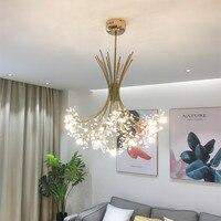 Nordic Loft Art Dandelion Crystal Chandelier Modern Warm Bedroom Restaurant Living Room Cafe G4 Led Hanging Light Fixtures