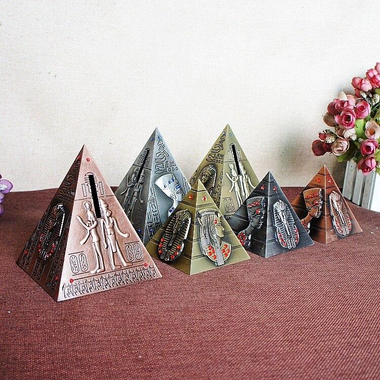 2018 Creative Bronze Pyramid Figurine Model Egypt Landmark Buildings With Piggy Bank For Children Gift Home Decoration