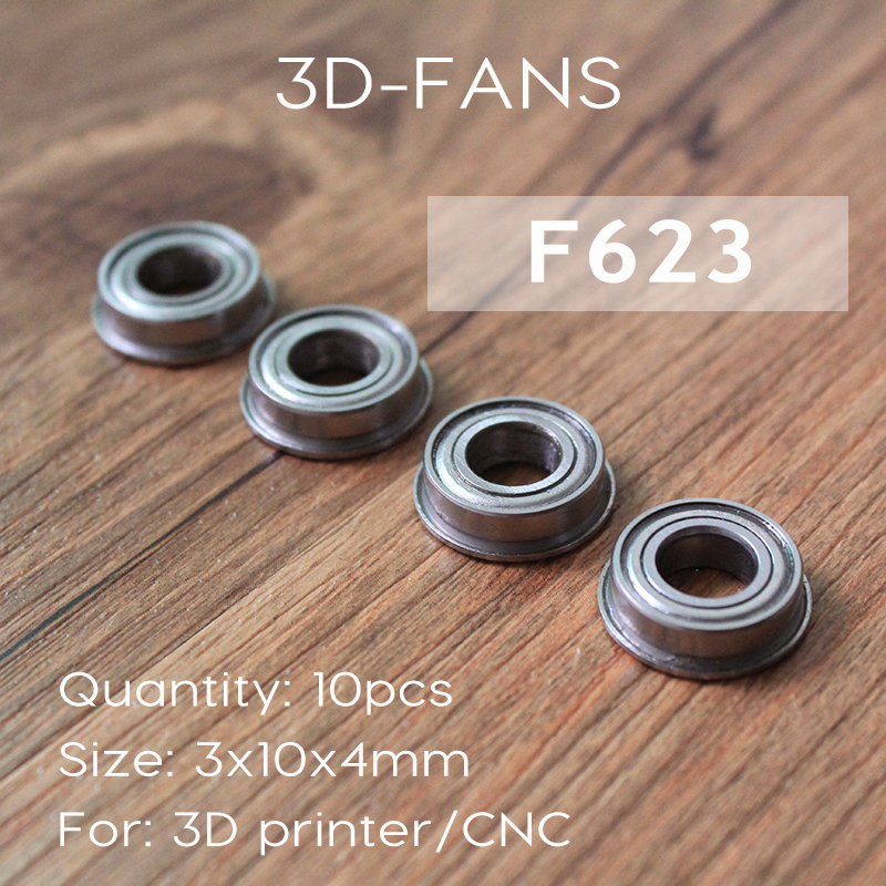 10pcs/lot F623 ZZ Flange Bushing Ball Bearings F623ZZ 3*10*4 mm for 3D printer