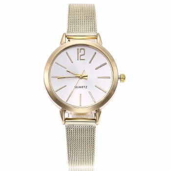 New Fashion Stainless Steel Silver Gold Mesh Watch Unique Simple Watches Casual Women Men Quartz Wristwatches Clock Hot Sale 1