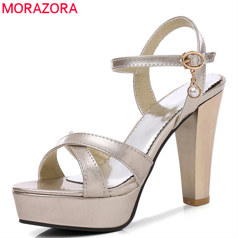 MORAZORA 2018 new arrival women sandals peep toe party wedding shoes simple buckle summer shoes sexy thin high heels shoes woman спот eglo glossy 2 94736