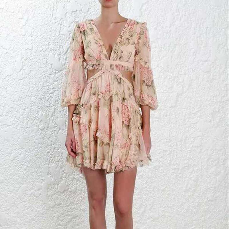 Женское летнее пляжное мини-платье с бретельками и открытой спиной, сексуальное платье с глубоким v-образным вырезом, модное короткое платье