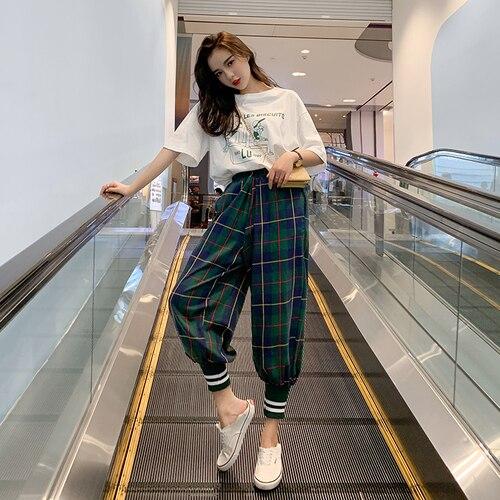 Casual 2 Piece Set Women Short Sleeves Tops Plaid Full Length Plaid Pants Fashion Women Sets Clothes Brief Women Clothes