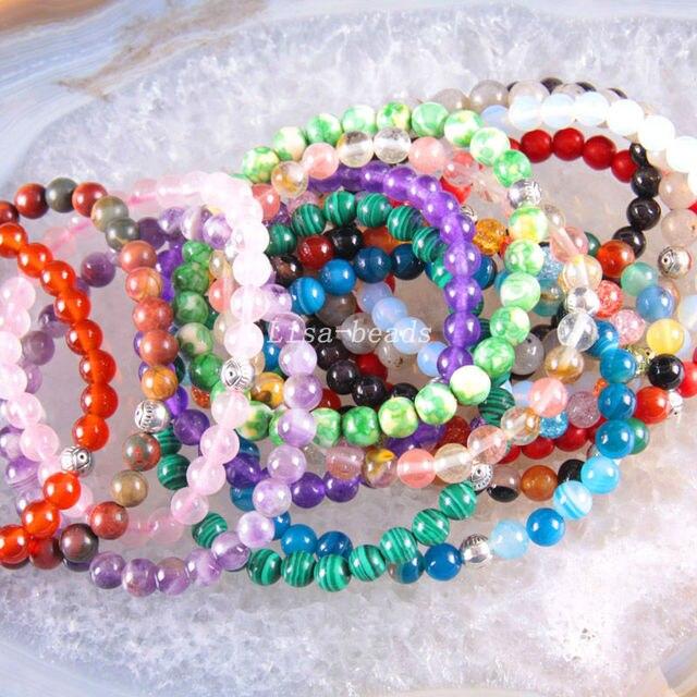 "Silver Stretch 6mm Round Beads Natural Agate Turquoise Lapis Jade Carnelian Opal Garnet Amethyst Bracelet 7.2"" 10Pcs LH1601"