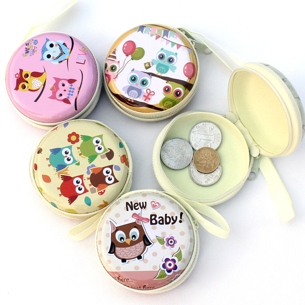 Cartoon coin purse Owl painting graffiti key bag children wallet women headphones box Kid Change purse Ladies coin wallet pouch