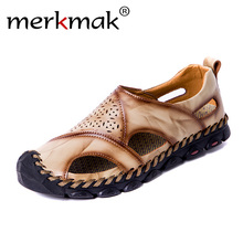 Shoes Men Sandals Genuine Leather Summer Waterproof Beach Slippers Flip Flops Casual Sneakers Outdoor Casual Shoes Big size 48 цена