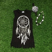 2016 Girls Summer Dress Kids Dress Dream Catcher Dress Black Tassels Dress Sleeveless With Necklace And