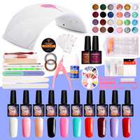 Manicure Set 36W LED Lamp 10Pcs UV Gel Nail Polish Set Nail Glitter Powder Nail Art Set Manicure Tools Kit UV Gel Polish Set