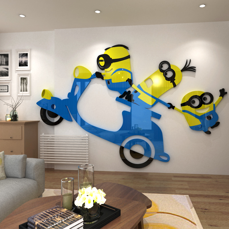 Bedroom Wallpaper Stickers Yellow Accent Wall Bedroom Bedroom Lighting Ideas Bedroom Ceiling Options: Yellow Person Acrylic Photo Wall Sticker Creative