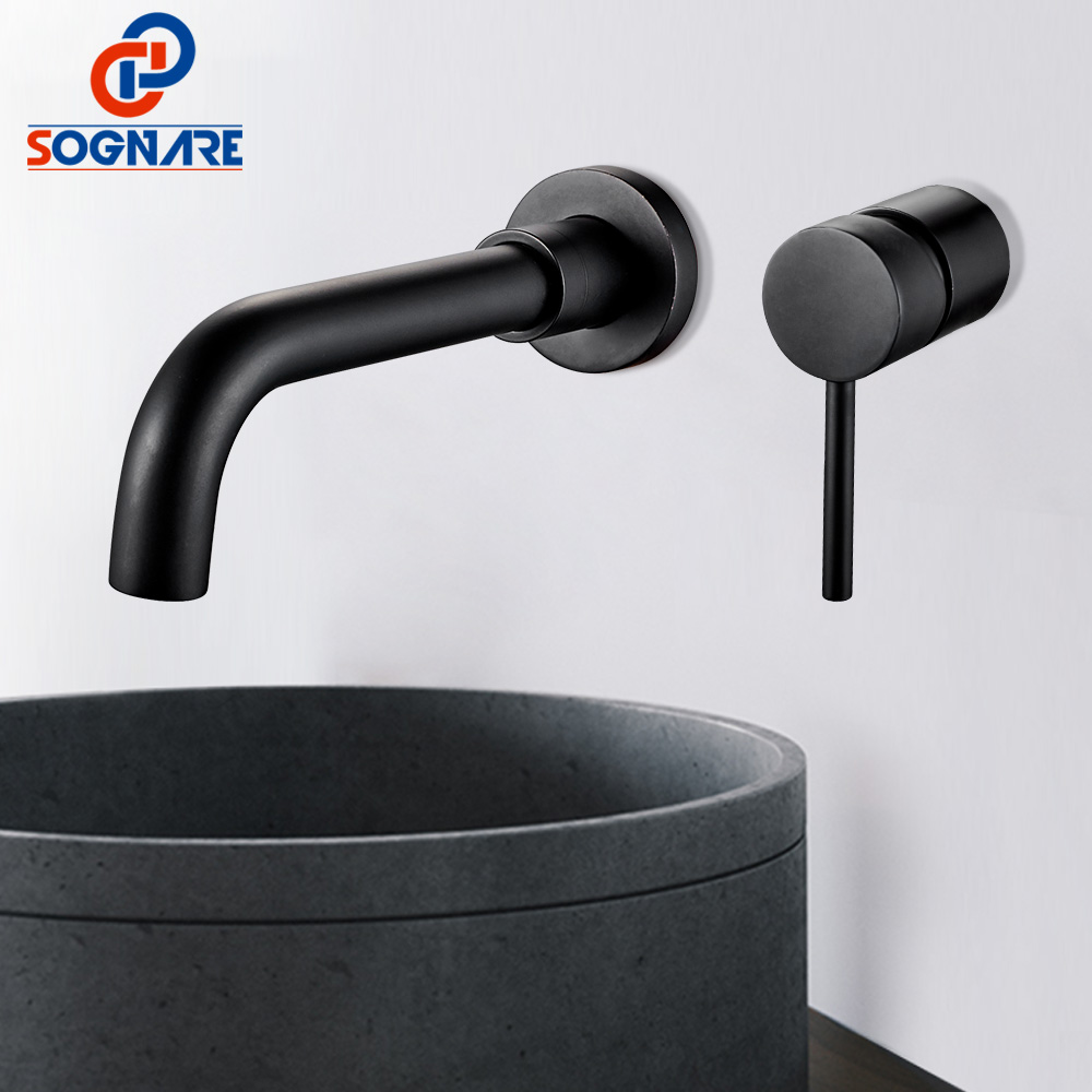 SOGNARE Brass Wall Mounted Basin Faucet Waterfall Single Handle Bathroom Mixer Taps Hot & Cold Water Tap Black,Rotation Spout