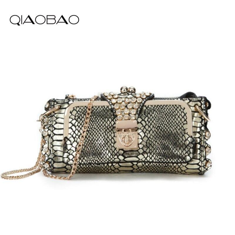 fac9a527c4b7b Qiaobao 100% جلد طبيعي جلد الثعبان الطبيعي حقائب الكتف يوم حقيبة مخلب أكياس  مساء حقائب جلد الثعبان