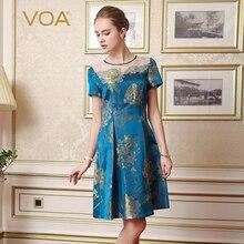 VOA Brand Silk Blue Vintage Dresses Women Vestiti Donna A-Line Print Short Sleeves Embroidery Knee-Length O-Neck Vestido A7623