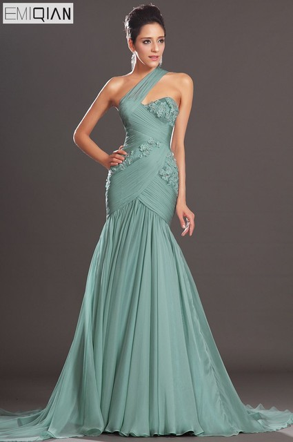 3f51a0a8d489 Free Shipping New Charming Mermaid One Diagonal Shoulder Chiffon Evening  Dresses