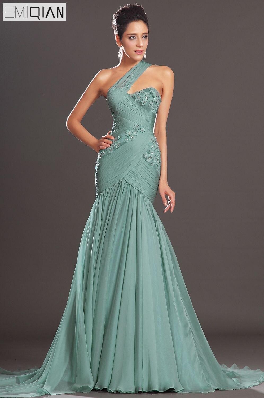 Free Shipping New Charming Mermaid One Diagonal Shoulder Chiffon   Evening     Dresses